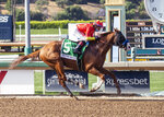 In this image provided by Benoit Photo, Improbable, with Drayden Van Dyke aboard, wins the Grade I $300,000 Hollywood Gold Cup horse race Saturday, June 6, 2020, at Santa Anita Park in Arcadia, Calif. (Benoit Photo via AP)