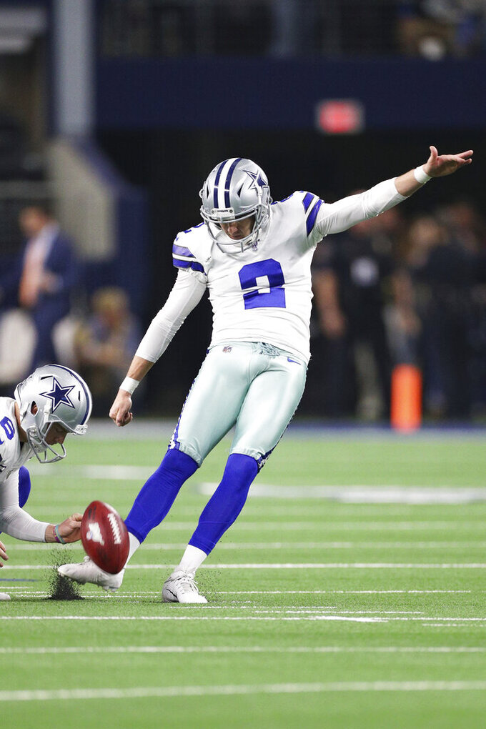 Dallas Cowboys kicker Brett Maher (2) kicks a field goal during warm-ups in an NFL game against the Buffalo Bills, Thursday, Nov. 28, 2019 in Dallas. The Bills defeated the Cowboys 26-15. (Margaret Bowles via AP)