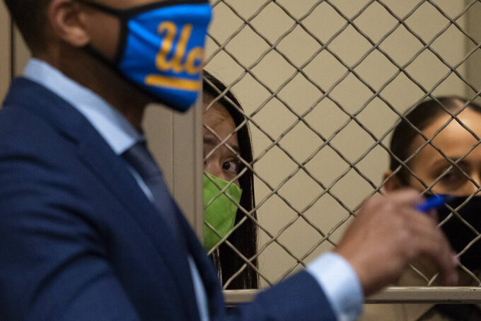 Sodsai Dalzell appears in court for an arraignment Tuesday, Sept. 29, 2020, in the Van Nuys section of Los Angeles. Dalzell is charged with attempted kidnapping of Hall of Fame quarterback Joe Montana's granddaughter. (AP Photo/Jae C. Hong, Pool)