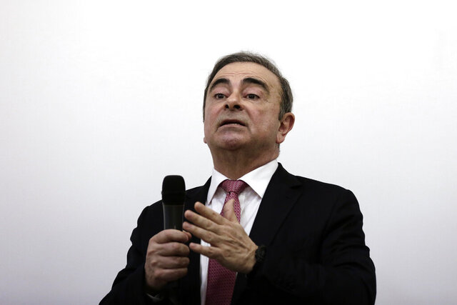 Nissan's former chairman Carlos Ghosn speaks at a press conference in Beirut, Lebanon, Wednesday, Jan. 8, 2020. (AP Photo/Maya Alleruzzo)
