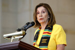 House Speaker Nancy Pelosi of Calif. speaks at a ceremony to commemorate the 400th anniversary of the first recorded arrival of enslaved African people in America, Tuesday, Sept. 10, 2019, on Capitol Hill in Washington. (AP Photo/Patrick Semansky)