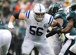FILE - In this Sept. 23, 2018, file photo, Indianapolis Colts guard Quenton Nelson blocks during an NFL football game against the Philadelphia Eagles at Lincoln Financial Field in Philadelphia. On Friday, Darius Leonard and Quenton Nelson were rewarded for their remarkable debut seasons by becoming the second set of rookie teammates to be named first-team All-Pro. Gale Sayers and Dick Butkus were the other players to achieve the feat in 1965 and both went on to have Hall of Fame careers with the Bears. (AP Photo/Winslow Townson, File)