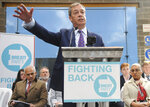British MEP Nigel Farage speaks during the launch of the Brexit Party's European election campaign, Coventry, England, Friday, April 12, 2019. On Friday, Nigel Farage launched the campaign of his newly formed Brexit Party. The former U.K. Independence Party leader said delays to Brexit were