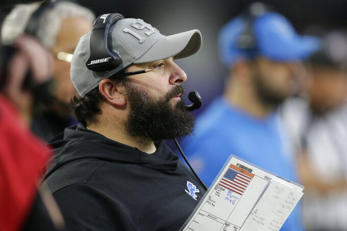 Detroit Lions head coach Matt Patricia watches from the sideline during the first half of an NFL football game against the Minnesota Vikings, Sunday, Dec. 8, 2019, in Minneapolis. (AP Photo/Andy Clayton-King)