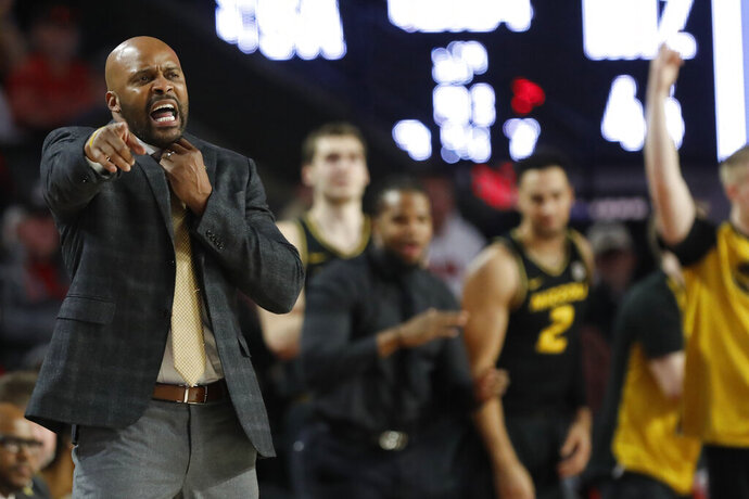 Missouri coach Cuonzo Martin gestures during the team's NCAA college basketball game against Georgia on Wednesday, March 6, 2019, in Athens, Ga. (Joshua L. Jones/Athens Banner-Herald via AP)