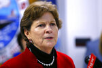 FILE - In this Friday, May, 3, 2019, file photo, U.S. Sen. Jeanne Shaheen, D-NH, speaks at the Portsmouth Naval Shipyard in Kittery, Maine. Shaheen is the incumbent Democrat candidate for Senate in the Sept. 8, 2020, New Hampshire primary election. (AP Photo/Robert F. Bukaty, File)