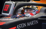 Red Bull Racing driver Max Verstappen the Netherlands sits in his car during the second practice session at the Formula One Canadian Grand Prix auto race, Friday, June 7, 2019, in Montreal. (Paul Chiasson/The Canadian Press via AP)