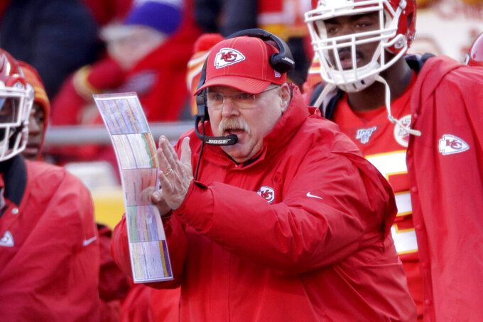 Kansas City Chiefs head coach Andy Reid reacts during the first half of the NFL AFC Championship football game against the Tennessee Titans Sunday, Jan. 19, 2020, in Kansas City, MO. (AP Photo/Charlie Riedel)