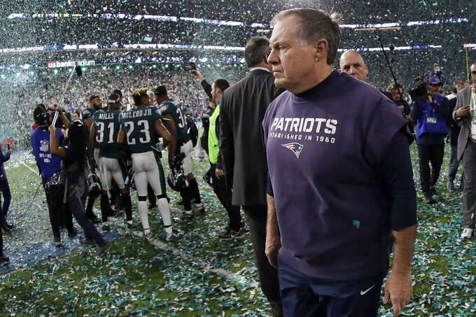FILE - In this Sunday, Feb. 4, 2018 file photo, New England Patriots head coach Bill Belichick walks off the field after the NFL Super Bowl 52 football game against the Philadelphia Eagles in Minneapolis. The Eagles won 41-33. Yes, it's time for another story about the Patriots trying to accomplish something nobody has done since the '72 Dolphins. But not THAT story. Eleven seasons after falling one win short of matching Miami's perfection, New England is trying to become the first team since those famed Dolphins to follow a loss in the Super Bowl with a title the very next year. (AP Photo/Mark Humphrey, File)