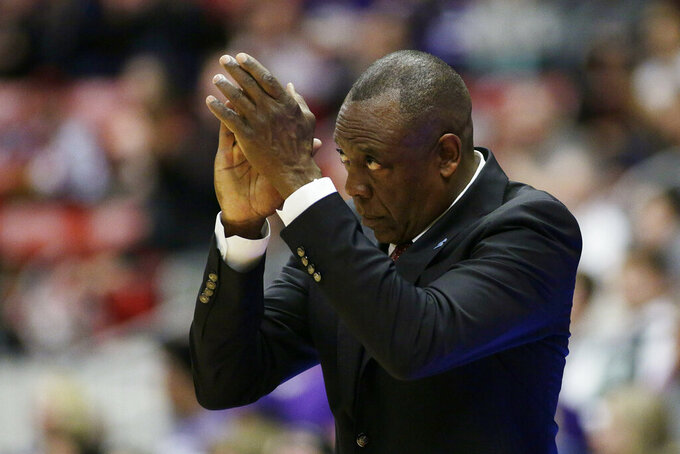 Washington State head coach Ernie Kent encourages his team during the second half of an NCAA college basketball game against Washington in Pullman, Wash., Saturday, Feb. 16, 2019. (AP Photo/Young Kwak)