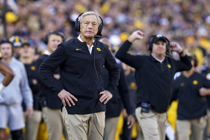 Iowa head coach Kirk Ferentz watches from the sideline during the second half of an NCAA college football game against Purdue, Saturday, Oct. 16, 2021, in Iowa City, Iowa. Purdue won 24-7. (AP Photo/Charlie Neibergall)