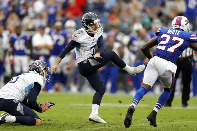 Tennessee Titans kicker Cairo Santos (7) misses his second field goal attempt against the Buffalo Bills in the first half of an NFL football game Sunday, Oct. 6, 2019, in Nashville, Tenn. (AP Photo/James Kenney)