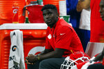 FILE - In this Sept. 29, 2019, file photo, Kansas City Chiefs' Tyreek Hill watches from the bench during an NFL football game against the Detroit Lions in Detroit. It would be an understatement to the greatest degree to say that Chiefs wide receiver has had an eventful year, one marked by the highest of highs and the lowest of lows. Now, he's hoping to return from a hamstring injury in time to help Kansas City win a fourth consecutive AFC West championship. (AP Photo/Paul Sancya, File)