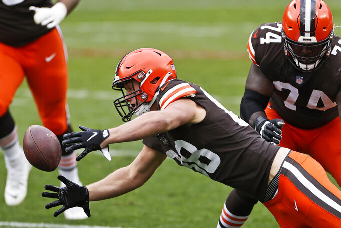 Cleveland Browns tight end Harrison Bryant (88) fumbles the ball during the first half of an NFL football game against the Las Vegas Raiders, Sunday, Nov. 1, 2020, in Cleveland. (AP Photo/Ron Schwane)