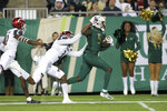 South Florida's Randall St. Felix is forced out of bounds by Cincinnati's Ja'von Hicks after a catch during the first half of an NCAA college football game, Saturday, Nov. 16, 2019, in Tampa, Fla. (AP Photo/Mike Carlson)