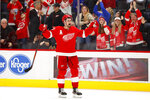 Detroit Red Wings center Dylan Larkin (71) celebrates after a shootout in an NHL hockey game against the Ottawa Senators, Friday, Jan. 10, 2020, in Detroit. (AP Photo/Paul Sancya)