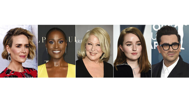This combination of images shows actors, from left, Sarah Paulson, Issa Rae, Bette Midler, Kaitlyn Dever and Dan Levy who will star in the HBO comedy