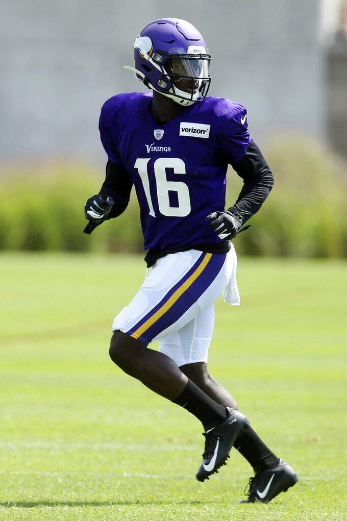 Minnesota Vikings wide receiver Davion Davis runs a route during the NFL football team's training camp Monday, July 29, 2019, in Eagan, Minn. (AP Photo/Jim Mone)