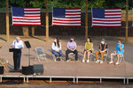 """Sen. Bernie Sanders, I-Vt., speaks during a town hall at Tippecanoe County Amphitheater, Friday, Aug. 27, 2021, in West Lafayette, Ind. """"My Republican colleagues are telling everybody that Bernie Sanders and the Democrats are going to raise taxes. You're right, we're gonna raise them on the richest people in this country,"""" Sanders said to the cheers of about 1,500 who braved sweltering heat and humidity at the outdoor amphitheater. (AP Photo/Darron Cummings)"""