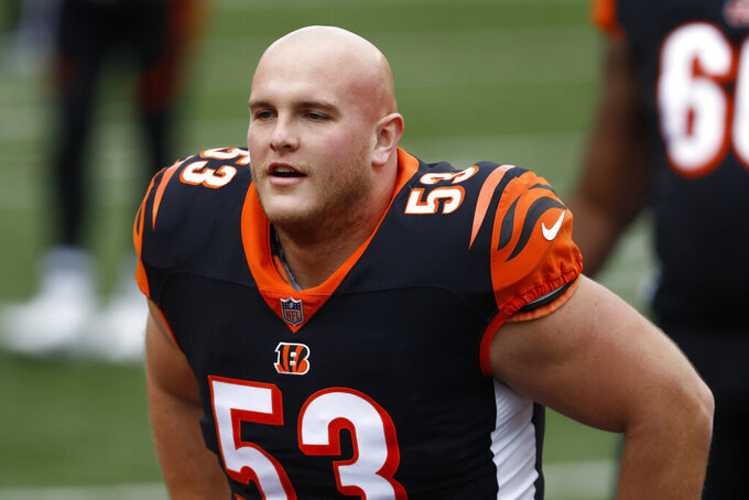 FILE - Cincinnati Bengals center Billy Price (53) warms up before an NFL football game against the Baltimore Ravens in Cincinnati, in this Sunday, Jan. 3, 2021, file photo. The New York Giants have acquired center Billy Price from the Cincinnati Bengals in a trade for defensive lineman B.J. Hill on Monday, Aug. 30, 2021. (AP Photo/Aaron Doster, File)