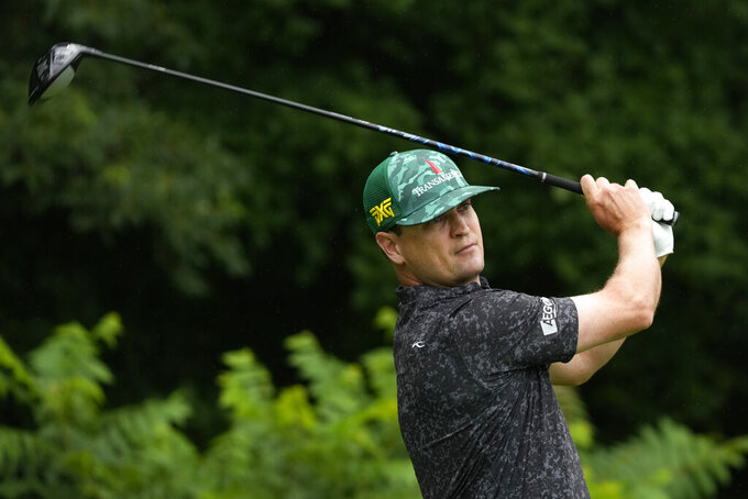 Zach Johnson hits off the second tee during the final round of the John Deere Classic golf tournament, Sunday, July 11, 2021, at TPC Deere Run in Silvis, Ill. (AP Photo/Charlie Neibergall)