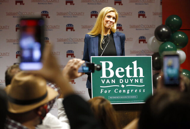 FILE - In this Nov. 3, 2020, file photo, Republican Beth Van Duyne who's running for U.S. House to represent Texas' 24th Congressional District, delivers her acceptance speech to supporters attending the Tarrant County GOP election watch party at the Hurst Conference Center in Hurst, Texas. Democrat Candace Valenzuela on Tuesday, Nov. 10, 2020, conceded losing to Duyne in the race for Texas' 24th congressional district near Dallas. (Tom Fox/The Dallas Morning News via AP, File)