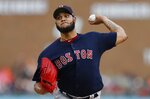 Boston Red Sox starting pitcher Eduardo Rodriguez throws during the first inning of a baseball game against the Detroit Tigers, Friday, July 5, 2019, in Detroit. (AP Photo/Carlos Osorio)