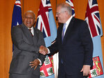 Australia's Prime Minister Scott Morrison, right, and Fiji's Prime Minister Voreqe Bainimarama pose for a photo after an official welcome ceremony at Parliament House in Canberra, Monday, Sept. 16, 2019. (Mick Tsikas/Pool Photo via AP)