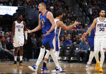 Denver Nuggets center Nikola Jokic argues with a referee for a call against the Philadelphia 76ers before being called for a technical foul of his own in the first half of an NBA basketball game Friday, Nov. 8, 2019, in Denver. (AP Photo/David Zalubowski)