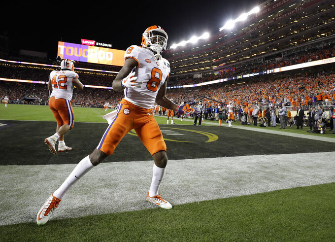 Clemson's Justyn Ross celebrates his touchdown catch during the second half of the NCAA college football playoff championship game against Alabama Monday, Jan. 7, 2019, in Santa Clara, Calif. (AP Photo/David J. Phillip)