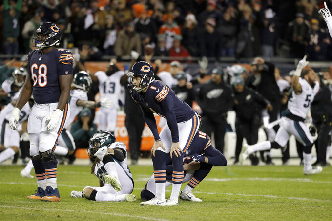 "FILE - In this Jan. 6, 2019, file photo, Chicago Bears kicker Cody Parkey (1) reacts after missing a field goal in the closing minute during the second half of an NFL wild-card playoff football game against the Philadelphia Eagles, in Chicago. Bears general manager Ryan Pace wouldn't say if Parkey will return for another season, and coach Matt Nagy called out the struggling kicker for appearing on the ""Today"" show last week. Pace was adamant Monday, Jan. 14, 2019, that the Bears need improvement in the kicking game. He also said ""those are things that need to play out"" when asked if Parkey will return for a second season. (AP Photo/Nam Y. Huh, File)"