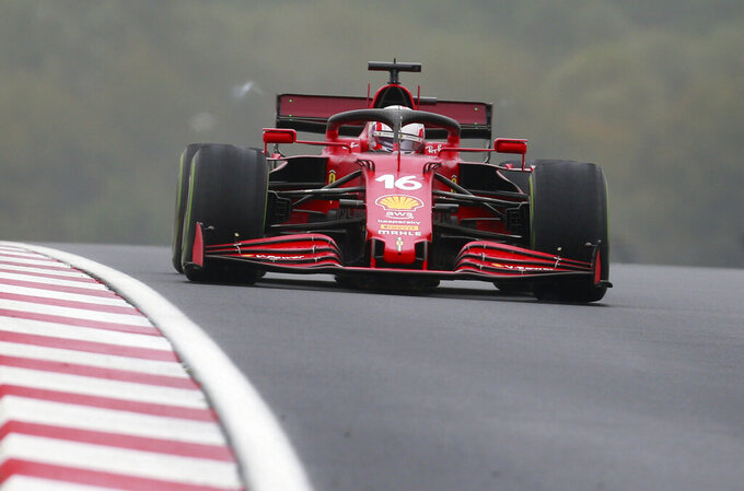 Ferrari driver Charles Leclerc of Monaco steers his car during the Turkish Formula One Grand Prix at the Intercity Istanbul Park circuit in Istanbul, Turkey, Sunday, Oct. 10, 2021. (AP Photo)