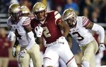 FILE - In this Oct. 27, 2017, file photo, Boston College running back AJ Dillon (2) carries the ball during the first half of an NCAA college football game against Florida State in Boston.  As a freshman, Dillon ran for 149 yards and a touchdown in BC's 35-3 rout of the Seminoles. (AP Photo/Michael Dwyer, File)