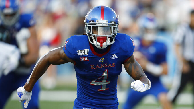 Kansas wide receiver Carter Stanleyduring an NCAA football game against Coastal Carolina on Saturday, Sept. 7, 2019 in Lawrence, Kan. (AP Photo/Colin E. Braley)
