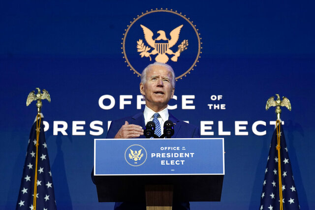 President-elect Joe Biden speaks Monday, Nov. 9, 2020, at The Queen theater in Wilmington, Del. (AP Photo/Carolyn Kaster)