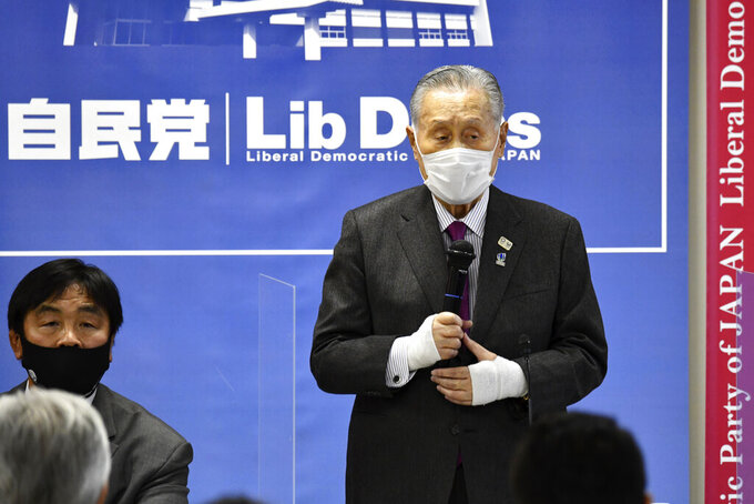 Tokyo Olympic and Paralympic Games Organising Committee President Yoshiro Mori delivers a speech at a beginning of a meeting on the preparation for the Tokyo Olympics and Paralympics at the Liberal Democratic Party (LDP) headquarters in Tokyo Tuesday, Feb. 2, 2021. (Kazuhiro Nogi/Pool Photo via AP)