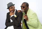 """This Aug. 27, 2019 photo shows portrait shows New Edition bandmates Ralph Tresvant, left, and Johnny Gill posing for a portrait in Los Angeles to promote Gill's eighth studio album """"Game Changer II."""