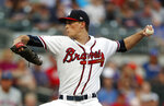 Atlanta Braves starting pitcher Max Fried (54) works against the New York Mets in the first inning of a baseball game Wednesday, June 19, 2019, in Atlanta. (AP Photo/John Bazemore)