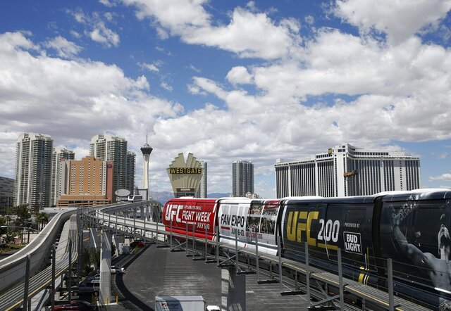 FILE - In this May 18, 2016, file photo, The Las Vegas monorail leaves a station in Las Vegas. The idled Las Vegas Monorail is being bought by the local tourism authority with plans to arrange the system's second Chapter 11 bankruptcy after 16 years of operation by a not-for-profit corporation. (AP Photo/John Locher, File)