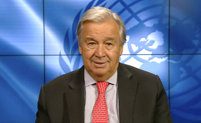In this photo taken from a pre-recorded video streamed online and provided by Ministry of Environment Government of Japan, U.N. Secretary General Antonio Guterres speaks during the Online Platform Ministerial Meeting Thursday, Sept. 3, 2020. The UN chief is urging Japan and other wealthy nations to give up reliance on coal and other fossil fuels and commit to investments in green energy as they recover from the coronavirus pandemic. (Ministry of Environment Government of Japan via AP)
