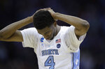 North Carolina's Brandon Robinson pauses near the end of a men's NCAA tournament college basketball Midwest Regional semifinal game against Auburn Friday, March 29, 2019, in Kansas City, Mo. (AP Photo/Orlin Wagner)