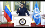 In this UNTV image, Nicolás Maduro Moros, President of Venezuela, speaks in a pre-recorded video message during the 75th session of the United Nations General Assembly, Wednesday, Sept. 23, 2020, at UN Headquarters. The U.N.'s first virtual meeting of world leaders started Tuesday with pre-recorded speeches from heads-of-state, kept at home by the coronavirus pandemic. (UNTV via AP)