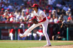 Los Angeles Angels starter Shohei Ohtani, of Japan, follows through on a pitch against the Oakland Athletics during the seventh inning of a baseball game Sunday, Sept. 19, 2021, in Anaheim, Calif. (AP Photo/Jae C. Hong)
