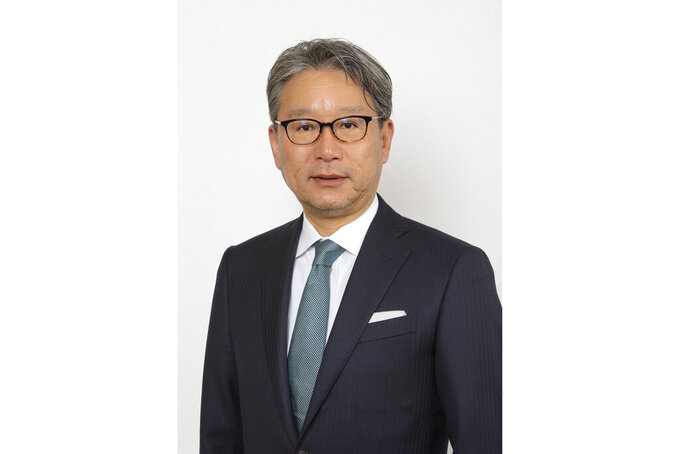 This 2020 photo provided by Honda Motor Co. shows Toshihiro Mibe. Japanese automaker Honda said Friday, Feb. 19, 2021, Mibe replaces Hachigo effective April 1, and subject to shareholders' approval at a meeting in June. (Honda Motor Co. via AP)