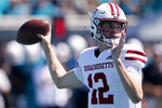 Massachusetts quarterback Brady Olson passes against Coastal Carolina during the first half of an NCAA college football game on Saturday, Sept. 25, 2021, in Conway, S.C. (AP Photo/Chris Carlson)