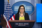 """FILE - In this April 23, 2021, file photo Interior Secretary Deb Haaland speaks during a press briefing at the White House in Washington.  Haaland said extensive news media coverage of the death of Gabby Petito while on a cross-country trip should be a reminder of hundreds of Native American girls and women who are missing or murdered in the United States. Haaland, the first Native American Cabinet secretary, said her heart goes out to Petito's family, but said she also grieves for """"so many Indigenous women'' whose families have endured similar heartache """"for the last 500 years.'' (AP Photo/Evan Vucci, File)"""