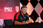 Utah head coach Kyle Whittingham answers questions during the Pac-12 Conference NCAA college football Media Day Tuesday, July 27, 2021, in Los Angeles. (AP Photo/Marcio Jose Sanchez)