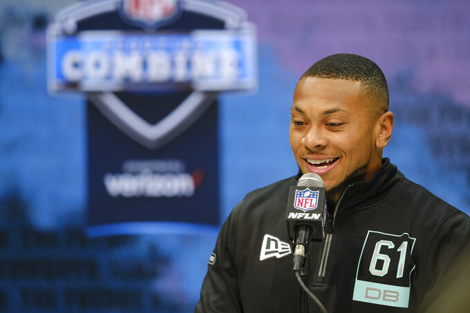Minnesota defensive back Antoine Winfield Jr. speaks during a press conference at the NFL football scouting combine in Indianapolis, Friday, Feb. 28, 2020. (AP Photo/AJ Mast)