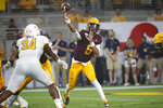 Arizona State quarterback Jayden Daniels (5) throws a pass against Kent State during the first half of an NCAA college football game Thursday, Aug. 29, 2019, in Tempe, Ariz. (AP Photo/Ralph Freso)