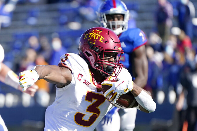 Iowa State running back Kene Nwangwu (3) runs for a touchdown during the first half of an NCAA college football game against Kansas in Lawrence, Kan., Saturday, Oct. 31, 2020. (AP Photo/Orlin Wagner)